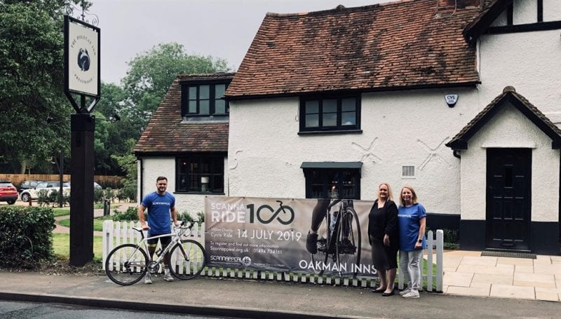 Scannaride100 - Richard Morrison, Asst Mgr Beech House Beaconsfield, Alice Chapman The Polecat Inn, Karen Shardlow, Scannappeal. Image courtesy 2020PR.
