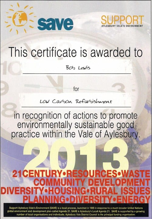 AVDC award in recognition of actions to promote environmentally sustainable good practice within the Vale of Aylesbury