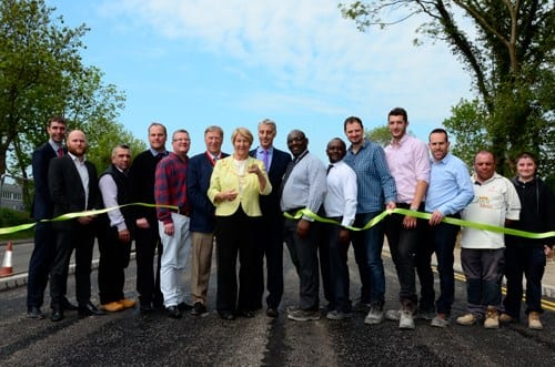 Buckinghamshire County Council Chairman Val Letheren cuts the ribbon on the new Stocklake (urban) link road in Aylesbury