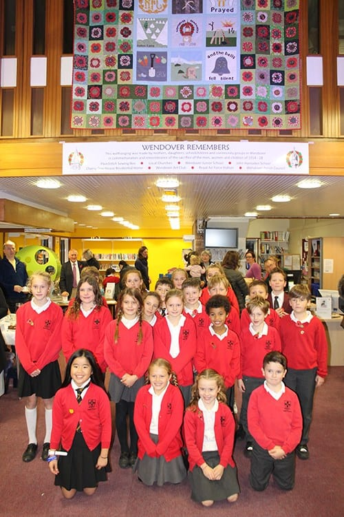 Pupil stitchers who were able to attend on 11 November 2016. They sewed their poppies in the summer of 2015. At the time about 60 were in year 2 of John Hampden Infant School and another 60 were from years 3,4,5 and 6 in Wendover Junior School.