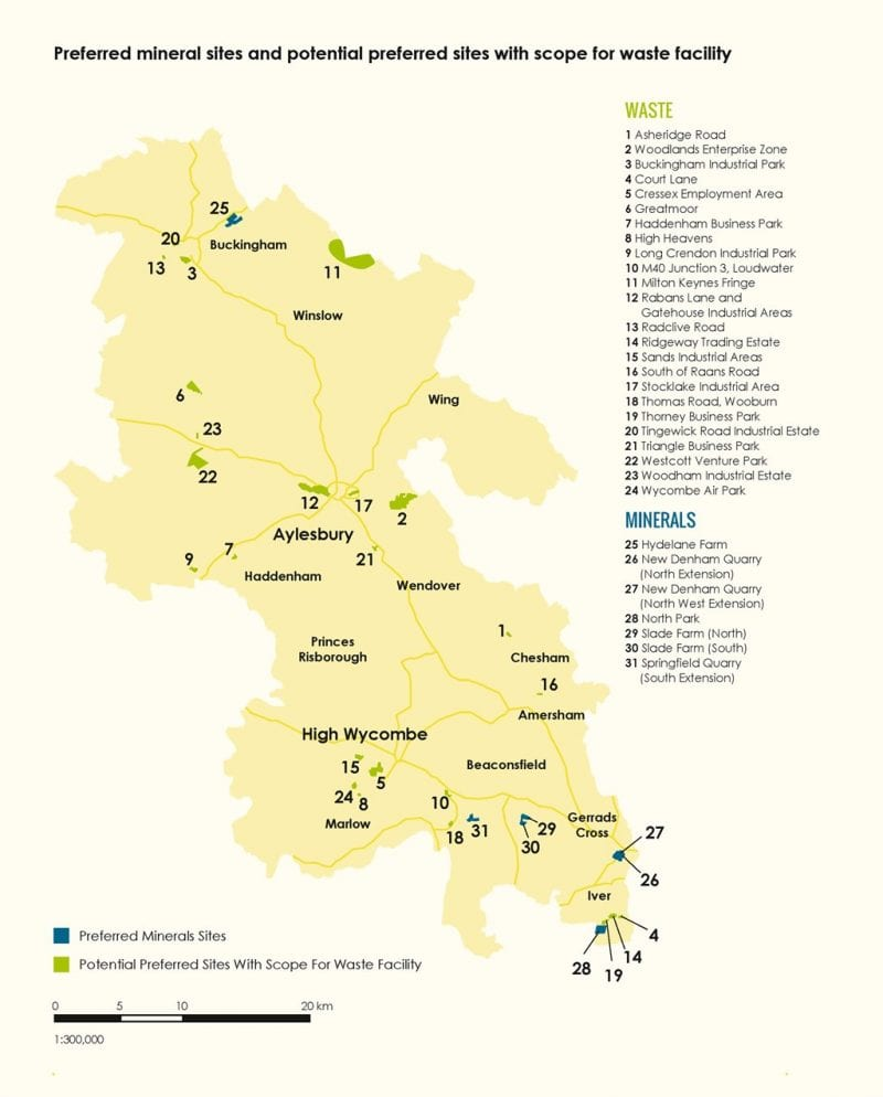 Buckinghamshire's potential preferred sites for minerals and waste