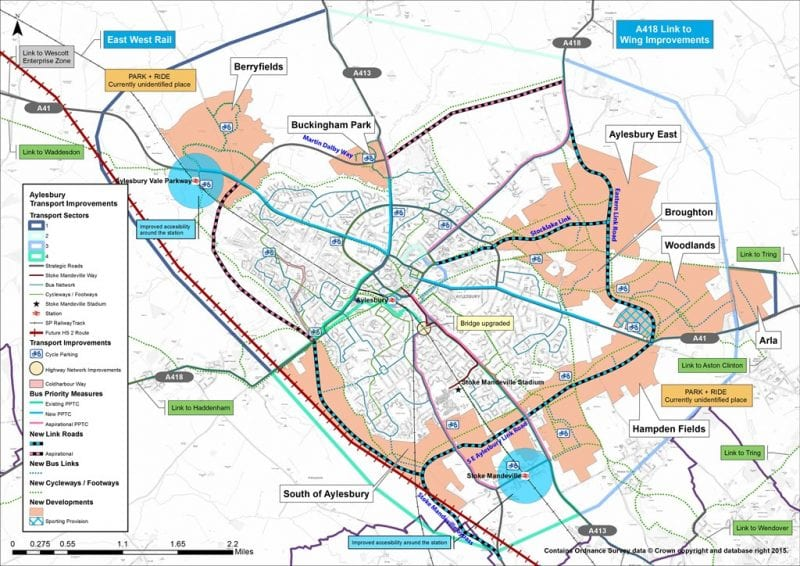 Lines on a map: link road lines that create an orbital route around Aylesbury, of which the South East Link Road is a section