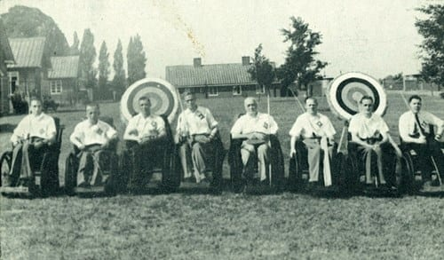 The first Archery Tournament at Stoke Mandeville Hospital, 27 July 1948 to coincide with the opening ceremony of the London Olympic Games. Photos credit: Wheelpower, International Wheelchair and Amputee Sport Federation and National Paralympic Heritage Trust.