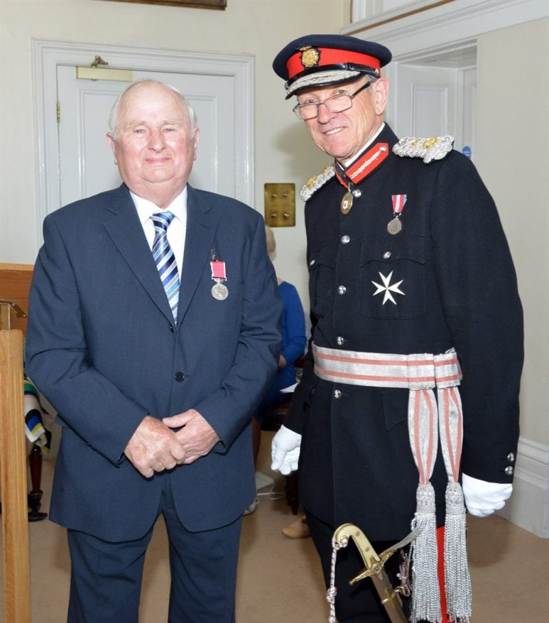 John Cornish receives his medal from Sir Henry Aubrey-Fletcher