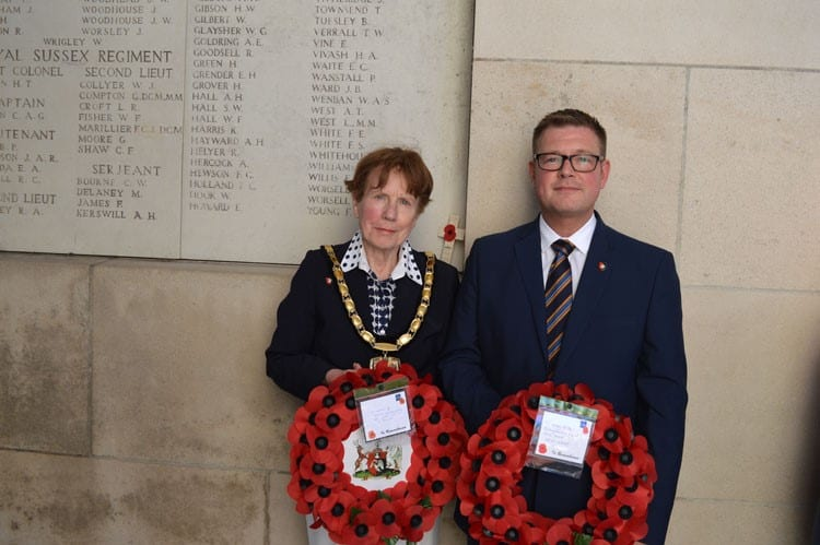 Netta Glover and Steven Lambert at the Menin Gate, Ypres