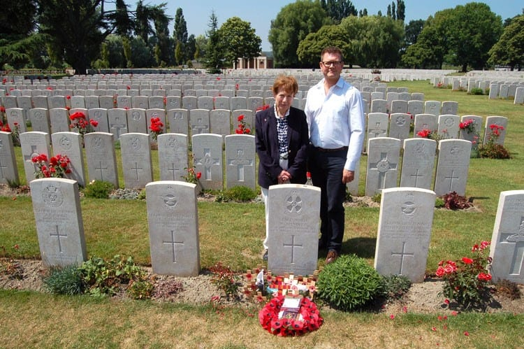 Netta Glover and Steven Lambert at Lijssenthoek Military Cemetery behind the grave of Staff Nurse Nellie Spindler, the only woman buried amongst 10,000 men at the cemetery. Nellie, originally from Wakefield, lost her life tending to patients in a British evacuation hospital located at Brandhoek when it was shelled on 21 August 1917. She was buried at Lijssenhoek with full military honours. All photos courtesy Buckinghamshire County Council.