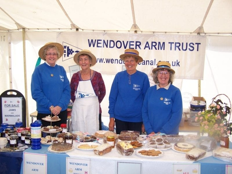 Jo Orth, Margaret Leishman, Jenny Brice and Val Matraves with their selection of goodies in 2011. Photo courtesy Wendover Arm Trust.