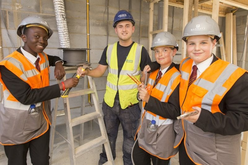 The students were able to look around one of the properties. All photos courtesy Barratt Homes.