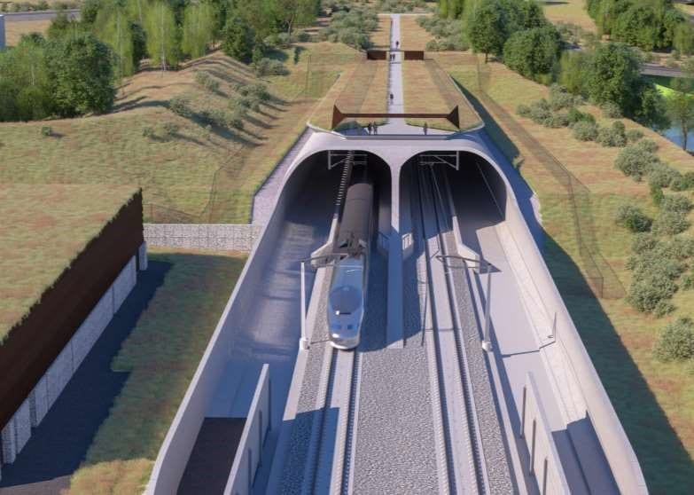 Portal of cut and cover tunnel, artist's impression.