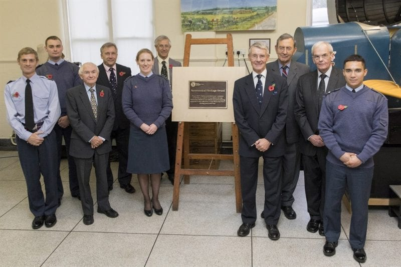 RAES staff with Group Captain Wilson, Trenchard Museum Curator Francis Hanford and station staff
