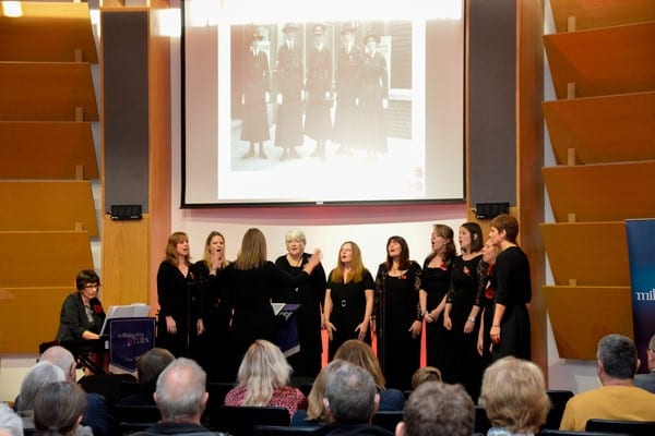 The Halton Wives Choir perform on stage