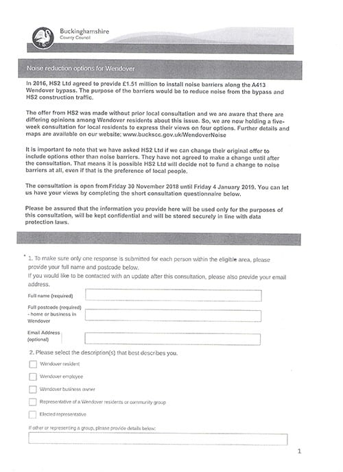 First side of Consultation Form.