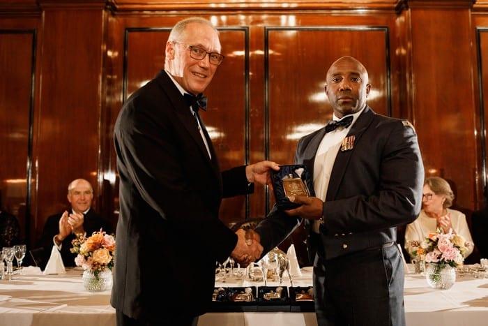 Sgt Trimmingham receives his award. All photos courtesy RAF Halton/Worshipful Company of Merchant Taylors.