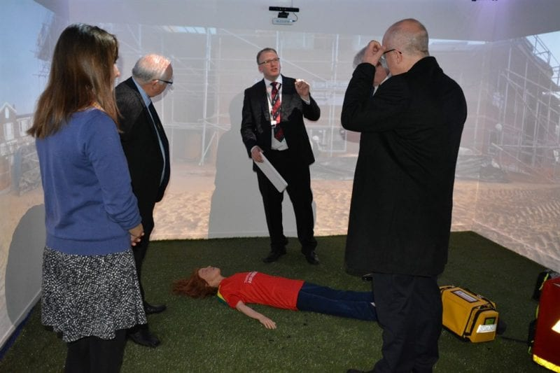Louise Clogher (Trusts and Foundations Manager) and Adam Panter (Director of Operations) giving an explanation of how the simulator is used. Images courtesy Buckinghamshire Freemasons.