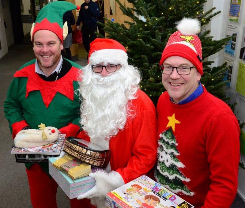 Councillors Paul Irwin, Mark Shaw & Warren Whyte in Christmas mode