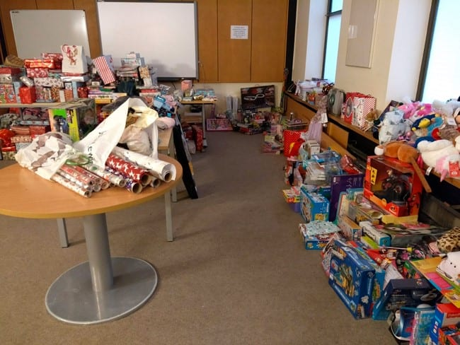 Some of the 2000 presents donated by Bucks residents.