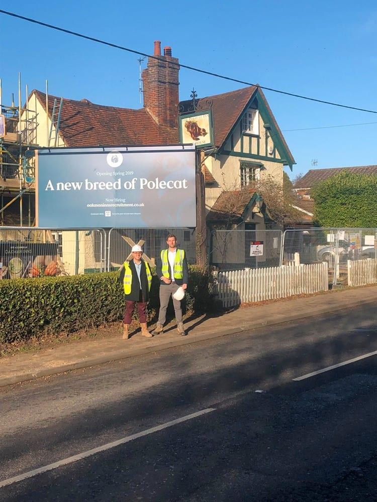 George Tompkins and Damien Hughes outside The Polecat, Prestwood. Images courtesy Oakman Inns.