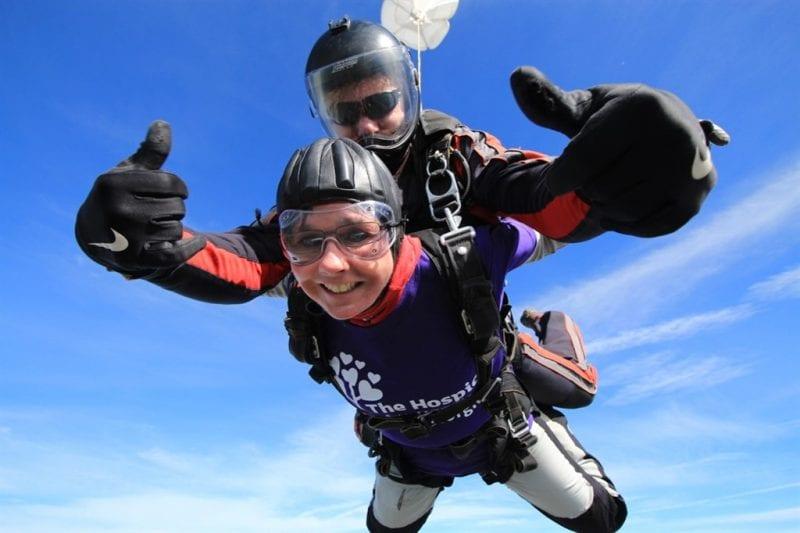 A previous sponsored skydive participant