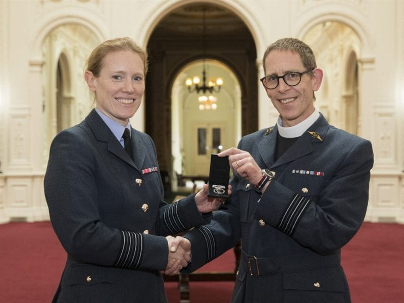 Padre Richardson with Station Commander Gp Captain Katherine Wilson