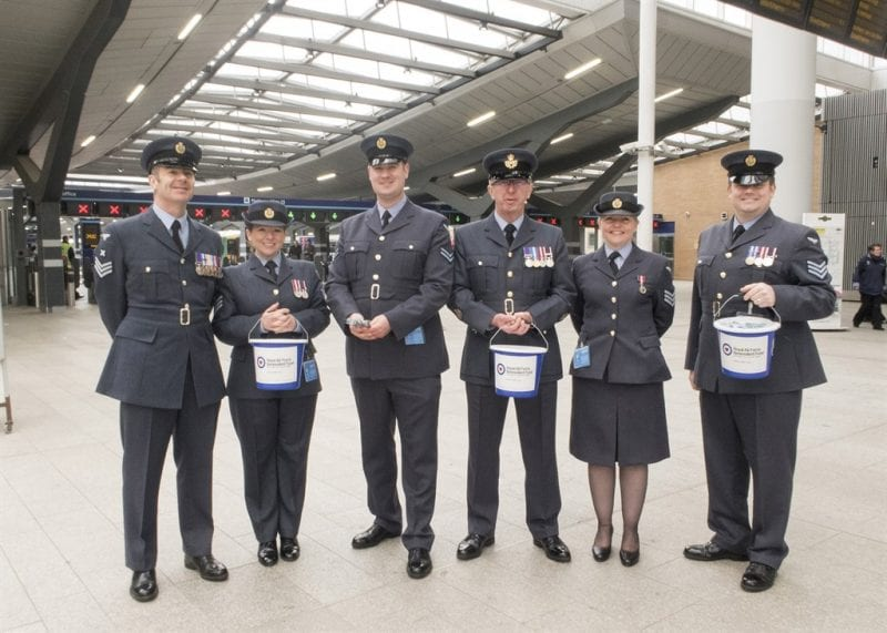 RAFBF bucket collection at London Bridge Station. Images Crown Copyright.