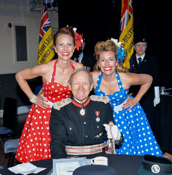 Sir Henry Aubrey-Fletcher with the Polka Dots, who performed at the Armed Forces Day 2019 ticket launch