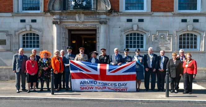 Celebrating Armed Forces Day 2019 ticket launch outside High Wycombe town hall