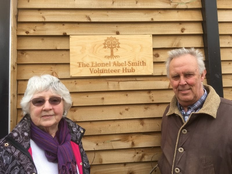 Marion Clayton and Robert Duggan, Trustees of Lionel Abel-Smith Trust. Robert Duggan is owner of Wendover Wood and made the beautiful plaque for Lindengate.