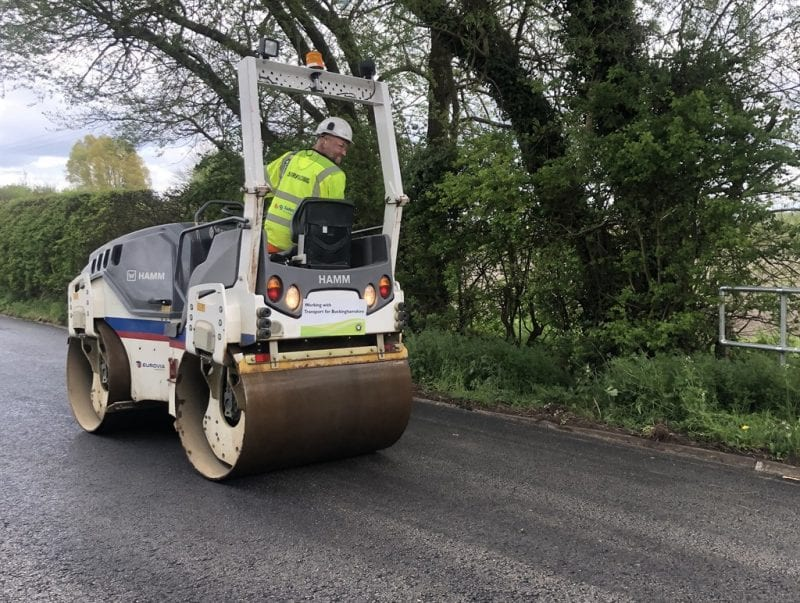 Rolling out the new road surface at Slapton. All images courtesy BCC/TfB.