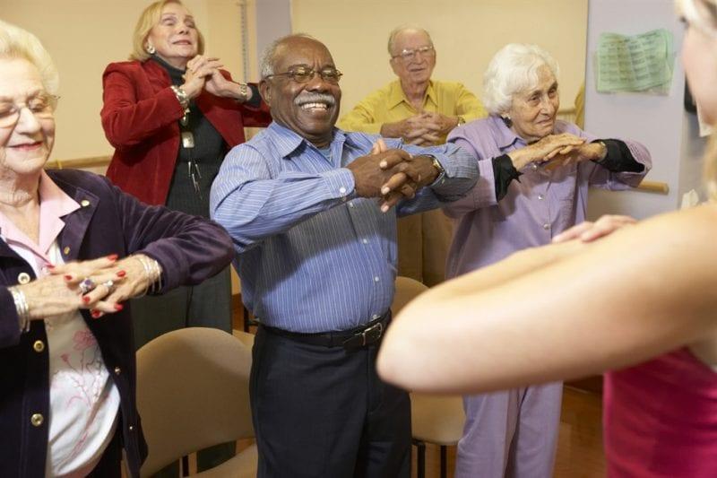 A seniors stretching class.