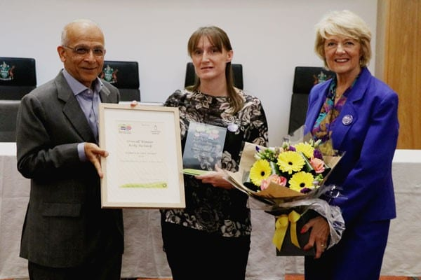 Kelly Richards, Overall winner, pictured with Buckinghamshire County Councillor Wendy Mallen and Sushil Radia, Managing Director of Westminster HomeCare.