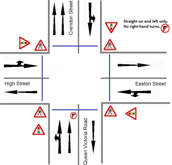Queen Victoria Road crossroads: how to use the new two-way system. Images courtesy Buckinghamshire County Council.