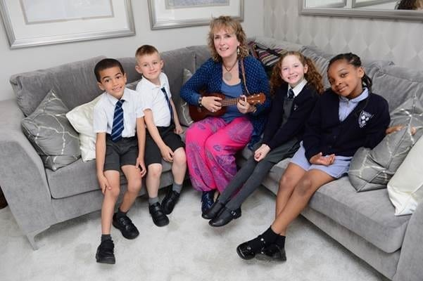 Pupils of Bierton C of E Combined School at a storytelling session inside the show home at Kingsbrook. Images courtesy Barratt & David Wilson Homes North Thames.