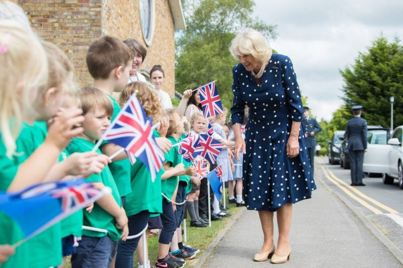 The children from Halton Combined School waved HRH off, as she returned to the airfield to depart.