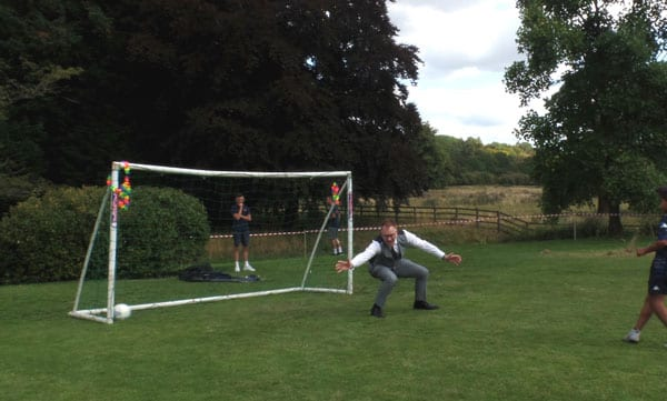 Warren Whyte (Cabinet Member for Children's Services) in goal.