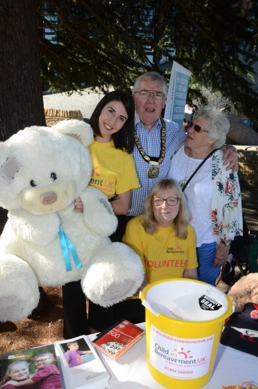 Chairman Brian Roberts and his wife Margaret with Rebecca Zacharek, Regional Fundraising Assistant and Roseleen Cowie, Buckinghamshire Bereavement Services Lead (seated) from Child Bereavement UK