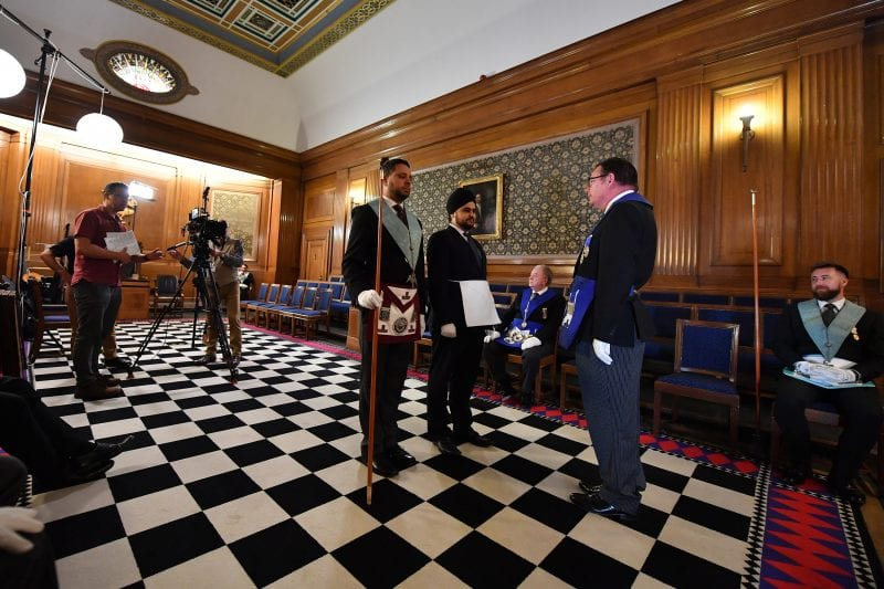 Pictures of the filming and photography day at the United Grand Lodge of England, Freemason's Hall, London.  Photographer: Steve Blake - SquarePictures.co.uk