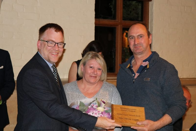Winners of the Willow Award, Denise & Michael Wiles with Councillor Warren Whyte