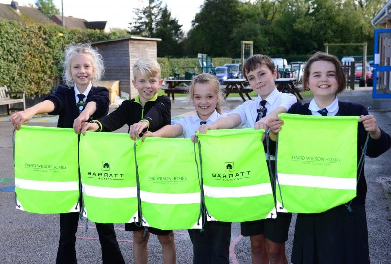Students at Bierton Combined School with their Walk to School Month bags
