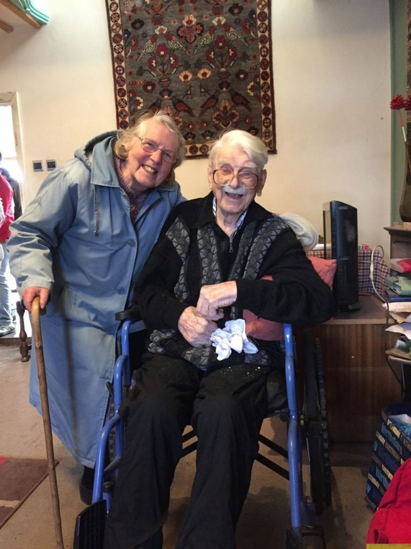 Ted with his friend Maureen Webb