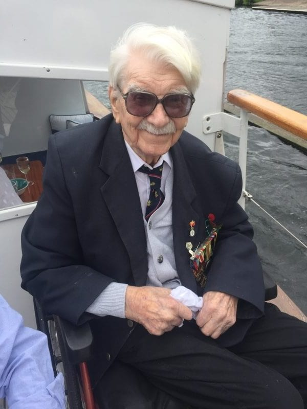 Ted Oates on Riis 1 at a recent Little Ships reunion