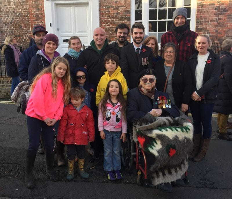 Ted with his family in Back Street on Remembrance Sunday 10 November 2019.