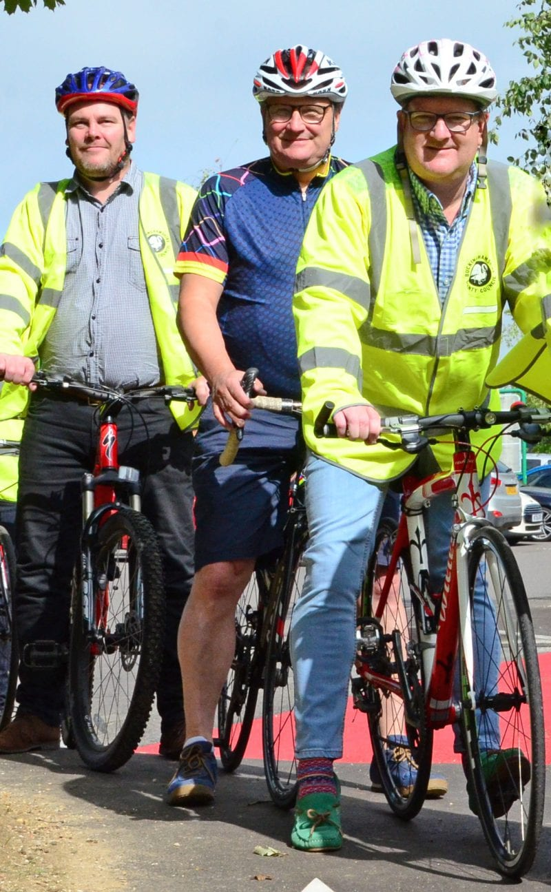 Welcome for Greenway link: Paul Irwin, Clive Harris with Transport Cabinet Member Mark Shaw