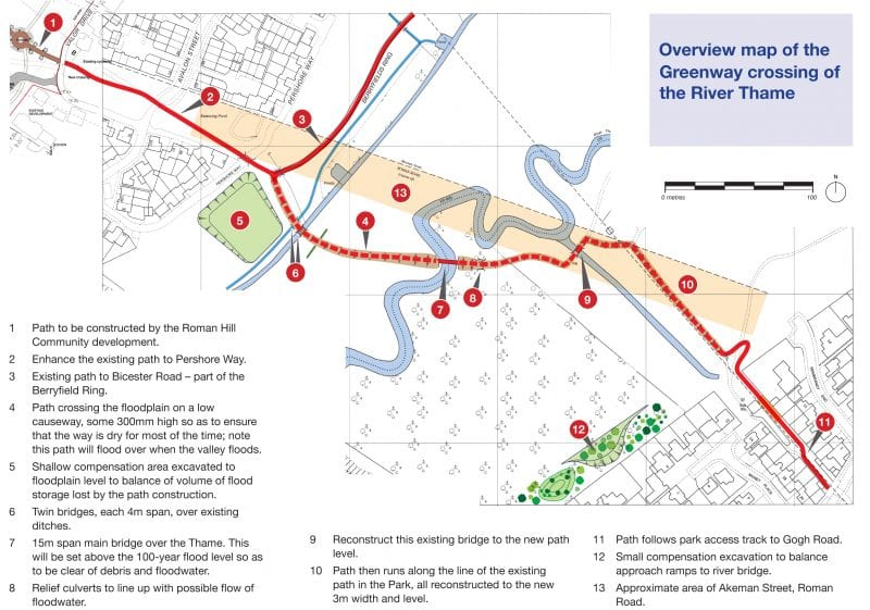 Route map of the Emerald Way extension towards Waddesdon Greenway
