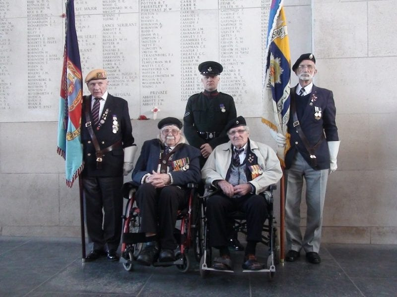 Ted (wheelchair left) at the Ypres Memorial on a trip organised by the Henley Dunkirk Veterans Association in 2016 with his very good veteran friend, George, who passed away in 2017. Middle back is his nephew Mark Milsted who served in 7 rifles.