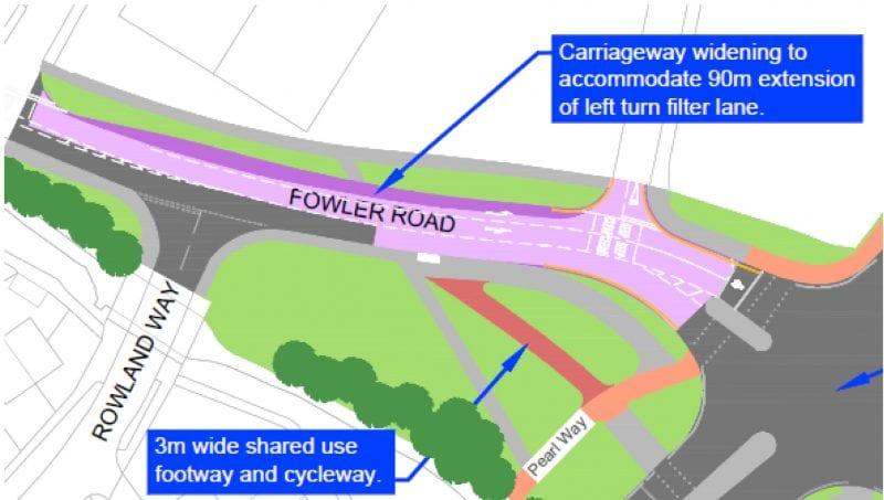 Fowler Road, Aylesbury: creating a left turn filter lane