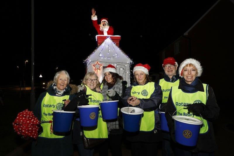 Aylesbury Hundreds Rotary Club with Santa at Kingsbrook