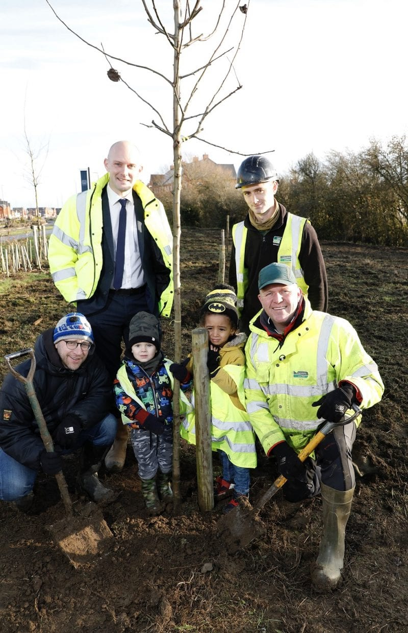 Community tree planting. All images courtesy Barratt/David Wilson Homes.
