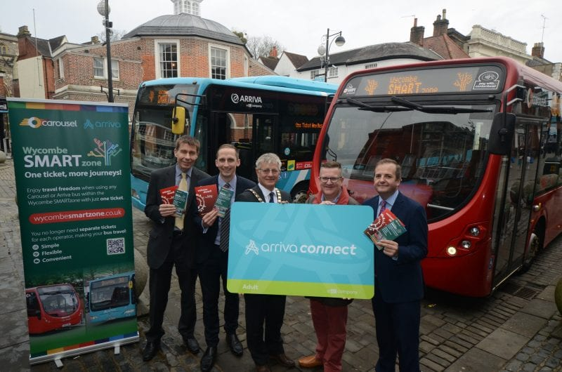 Smartzone launch: senior bus company staff join district and county councillors for the launch of Smartzone outside High Wycombe Guildhall (left to right - Andy Clarke, Buckinghamshire County Council Public Transport Manager; Luke Marion, Carousel Finance and Commercial Director; Paul Turner, Chairman Wycombe District Council; Mark Shaw Deputy Leader and Transport Cabinet Member Buckinghamshire County Council; Simon Finnie, Arriva Shires Managing Director