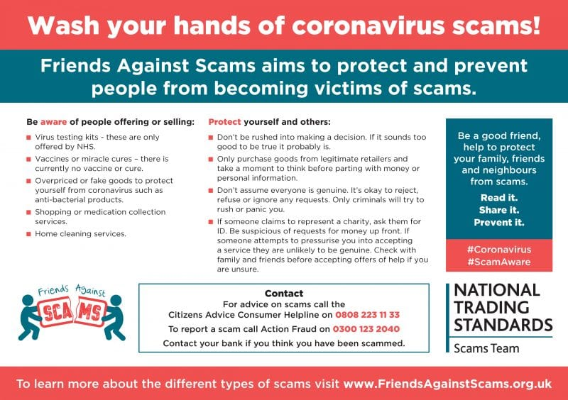 In the picture: tips from Friends Against Scams and National Trading Standards on how to avoid becoming the victim of a scam.