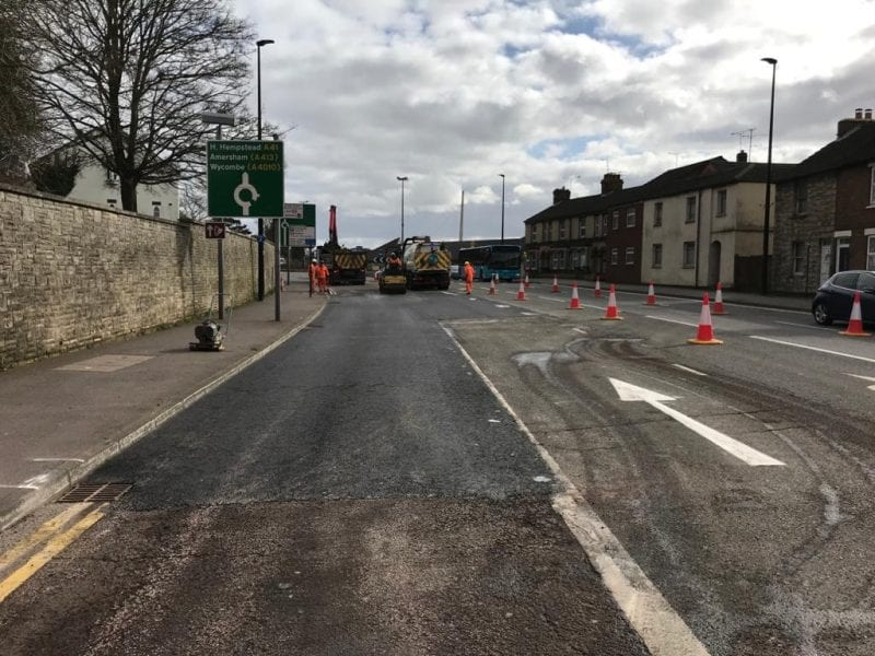 Resurfacing teams carry out 'plane and patch' work on Friarage Road, Aylesbury
